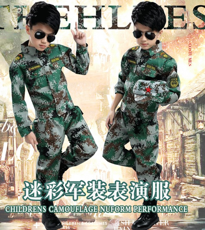 2017 Boy camouflage clothing set 2 pieces Children's uniforms kindergarten primary and secondary school boys boys and girls secondary school performance in bangladesh