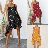 2019 летнее платье для женщин Мода Boho праздник Пляж Холтер волновой точки неравномерность мини Шеин