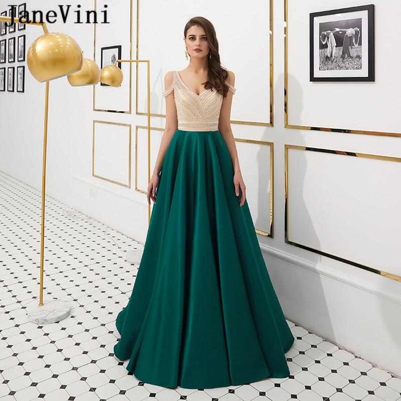 JaneVini Luxury A Line Long   Prom     Dresses   Dark Green V Neck Satin Sweep Train Sleeveless Crystal Beaded Formal Vestido   Prom   Gowns