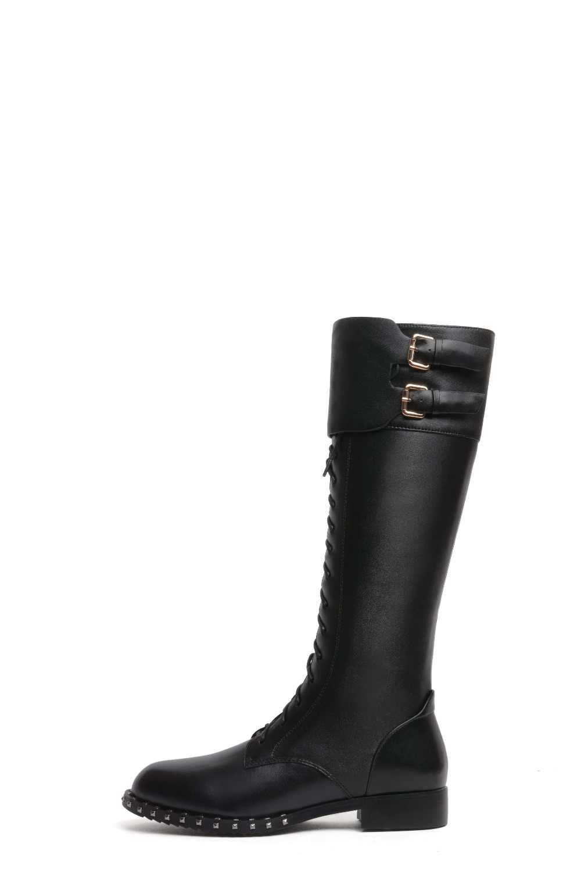 2018 суперзвезд красивый рок девушки мотоциклетные ботинки с заклепками и перекрестными завязками, круглый носок; обувь на низком каблуке с пряжкой Ремни Полусапоги из бычьей кожи L13