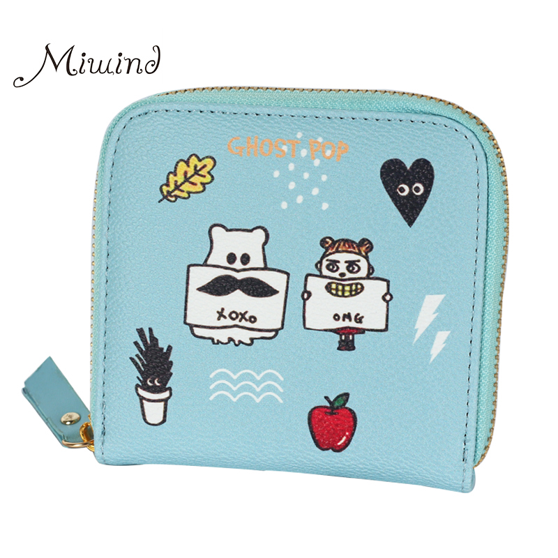 2016 Korean Vintage Cute Anime Cat Leather Women Slim Mini Wallet Girl Small Purse Female Coin Credit Card Holder Dollar Price korean cute cat wallets women small zipper girl wallet brand designer pu leather women coin purse female card holder clutch bag