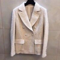 Осенняя куртка с жемчугом, Женская мода 2019, отложной воротник, куртка с длинным рукавом, новая женская белая куртка