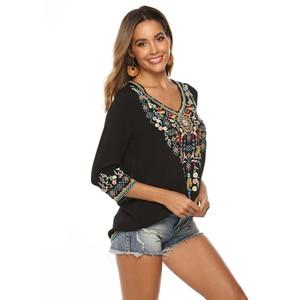 Image 3 - Neueste Trendy Hand Stickerei Blusen High end Boutique Floral Shirts Mode frauen Langarm V ausschnitt Tops Bluse Bestickt