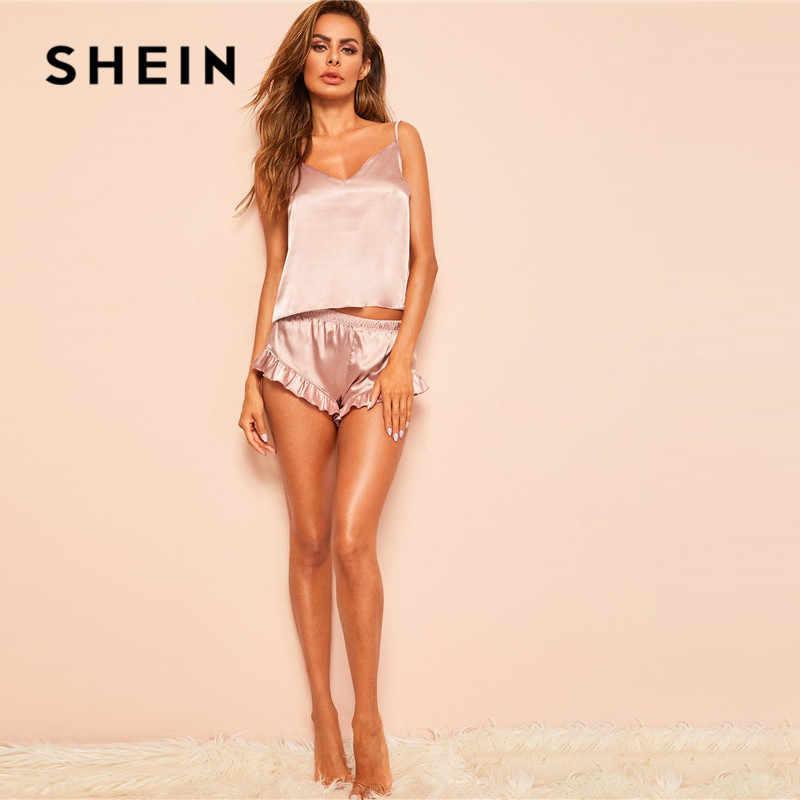 SHEIN Розовая атласная пижама без рукавов с v-образным вырезом для женщин, летняя однотонная одежда для сна с оборками, женские шорты, сексуальный пижамный комплект