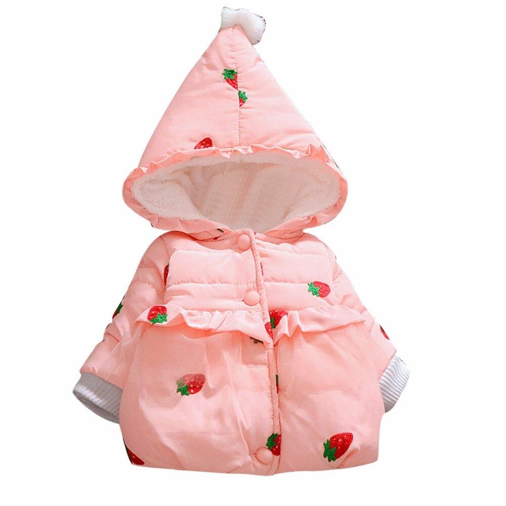 1e131045f261 Puseky Bebê Meninas Jaqueta Bebê Morango Padrão Casaco Quente Crianças  Casaco de Inverno Morango Outwear Roupas Crianças Outerwear Casaco