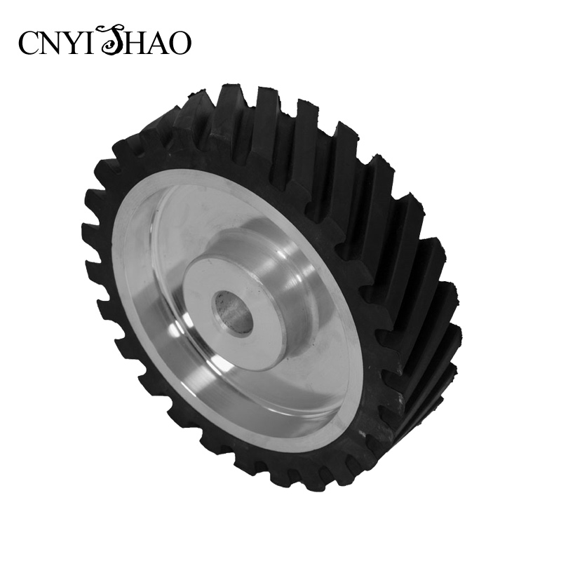 CNYISHAO Aluminum Fine Polishing Wheel 200*50*25mm Serrated Rubber Contact Wheel Abrasive Belt Set for Belt Sander 8 inch 50mm thickness serrated rubber contact wheel belt sander polishing wheel abrasive belts set