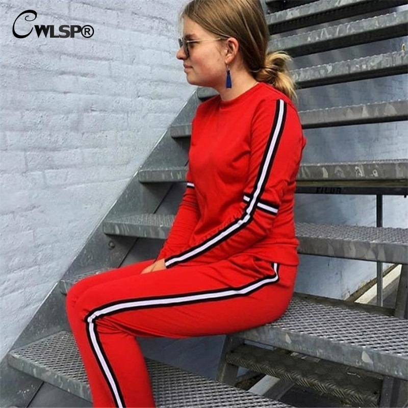CWLSP Autumn Casual Side Striped Tracksuit for Women Skinny Patchwork 2 Pieces Sets Sportswear ropa deportiva mujer QL4142 2
