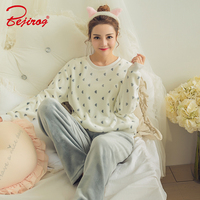 Bejirog Women S Pajamas Set Thick Coral Flannel Sleepwear Sleep Tops And Bottom In Winter Suit