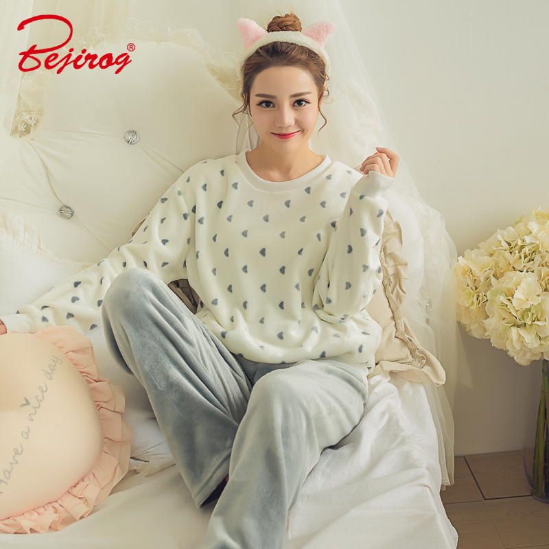 Bejirog women pajamas set thick coral Flannel sleepwear in winter suit for adult ladies female pyjamas sleep clothes two pieces