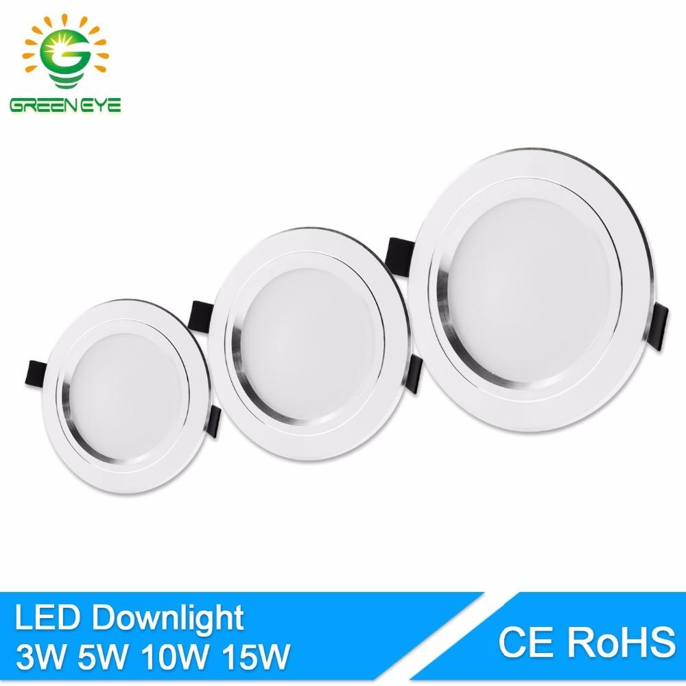 GreenEye Ultra Bright Round LED Downlight 5W 10W 15W Aluminum Bombillas AC 110V 220V LED Down Light Ceiling Recessed Spot Light
