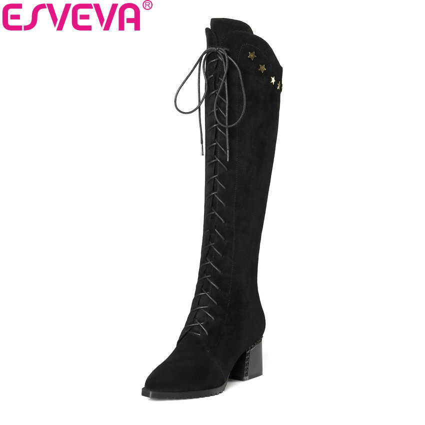 ESVEVA 2019 Women Boots Zipper Knee-high Boots Pointed Toe Women Shoes Square High Heels PU Autumn Shoes Ladies Boots Size 34-42