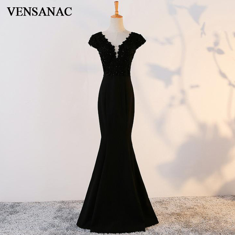 VENSANAC 2018 Vintage Mermaid Lace V Neck Long   Evening     Dresses   Elegant Sequined Embroidery Open Back Party Prom Gowns