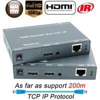 ZY DT209 200m HDMI Over IP Network Extender With IR 1080P HDMI Via RJ45 CAT5 CAT5e CAT6 LAN Extensor 656ft Like HDMI Splitter