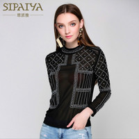 Runway Women S Blouses Full Sleeve Beading Designer Sexy See Through 2017 Summer Female Top Office