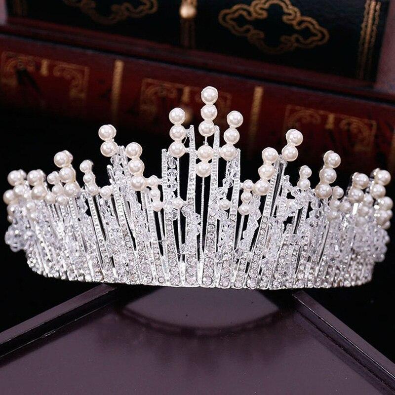 New Vintage Multilayer Luxus Silber Gold Kristall Perle Tiara Crown Hochzeit Haarschmuck Braut Partei Schmuck Großen Stirnbänder