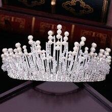 New Vintage wielowarstwowe luksusowe srebrny kolor kryształu perłowa Tiara korona ślubne akcesoria do włosów biżuteria na przyjęcie ślubne duże opaski