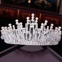 New Vintage Multilayers Luxury Silver Gold Crystal Pearl Tiara Crown Wedding Hair Accessories Bridal Party Jewelry