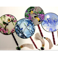 Embroidery finished products fan /Suzhou embroidery handmade embroidery / silk decorative painting/ Chinese traditional art