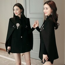 Spring Runway Fashion Women Black White Cape Blazers Pearls Vintage Beadinged Diamond Ruched Coats