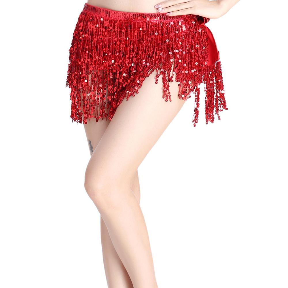 Belly Dance Dancer Costume Sequins Tassel Fringe Belt Waist Wrap Skirt Belly Dance Hip Scarf Wrap Skirt