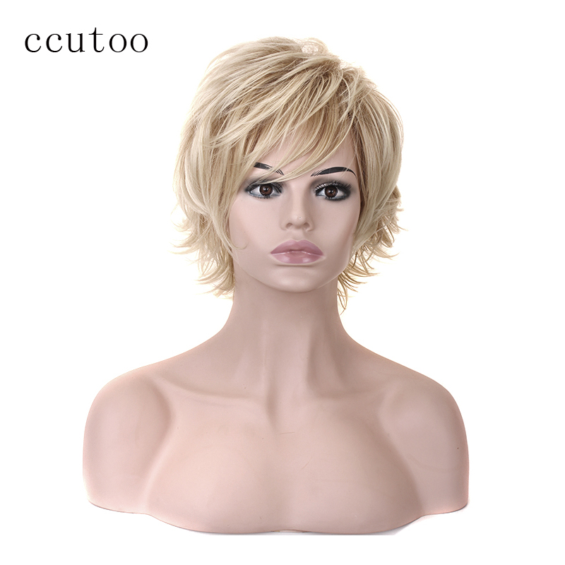 ccutoo Synthetic Blonde Short Wig High Temperature Fiber Woman/Men's Hair Cosplay Full Wigs-in Synthetic None-Lace  Wigs from Hair Extensions & Wigs