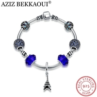 AZIZ BEKKAOUI European Original Snake Chain Bracelets For Women Sapphire Beads 925 Sterling Silver Eiffel Tower