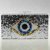 New Famous Designer Handbag Clutch For Women Mosaic Eye Acrylic Clutch Shoulder Bag Crossbody Chain Bling