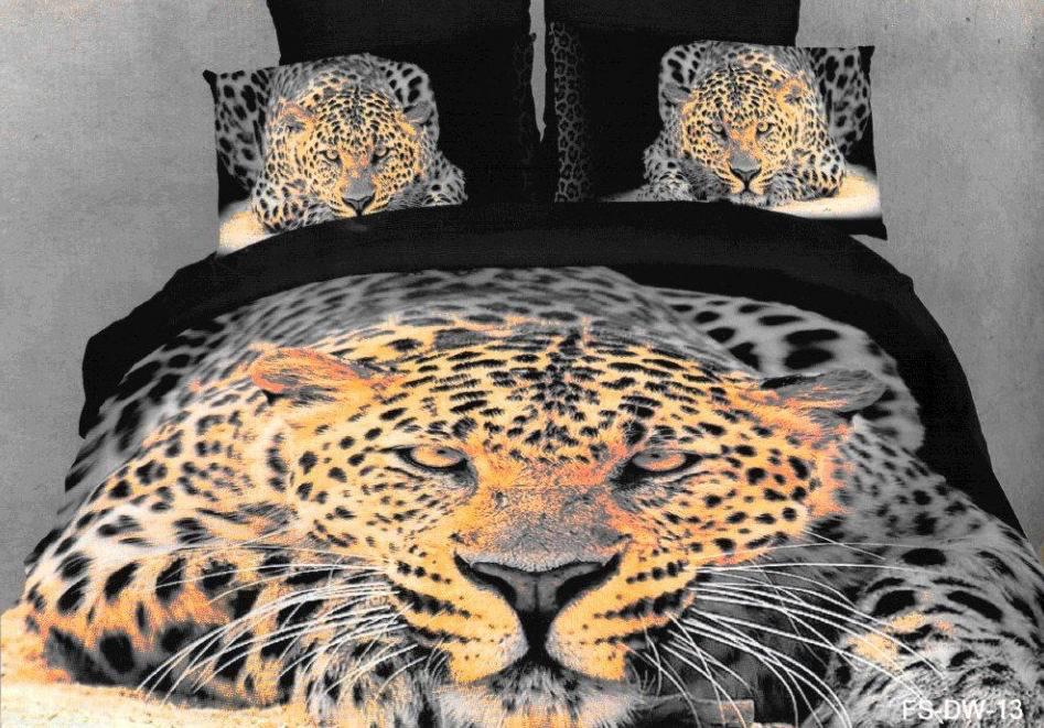 3D Leopard Black Brown Bedding Set Sets Queen King Size