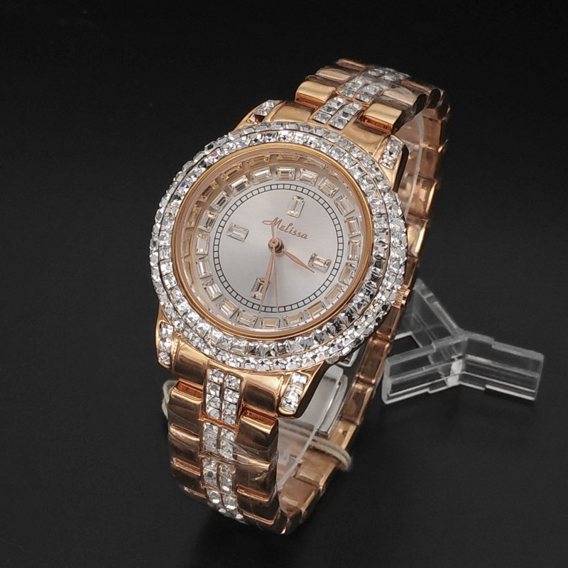 Luxury Melissa Lady Women's Crystal Watch Elegant Rhinestone Ceramic Fashion Hours Dress Bracelet Girl Party Birthday Gift цена