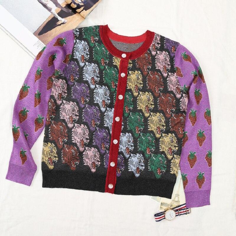 Hiver Knit Chandail 2018 Piste Manches Dames Vêtements Imprimer Automne Femmes Designer Cardigans De Luxe Jumper Violet Tiger Soie Longues pqqAwFnx