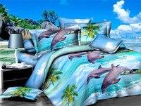 2017 Luxury 3d Dolphin Jacquard Superfine Polyester Fiber Bedding Set Sheet Duvet Cover Pillowcases Pptv King