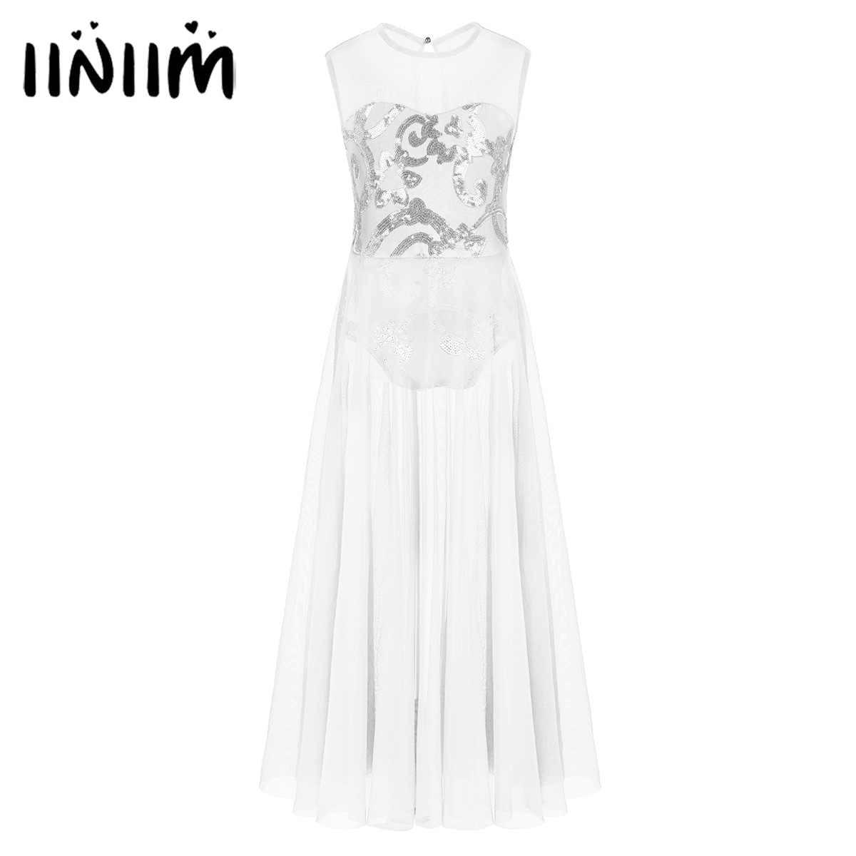 Iiniim/подростков платье для лирического танца с цветочным рисунком из пайеток крой танцевальная одежда для балерины для детей; костюмы для девочек; леопардовое гимнастическое платье для танцев
