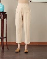 Shanghai Story Chinese Pants body linen Blend elastic waist chinese traditional clothing Chinese Trousers