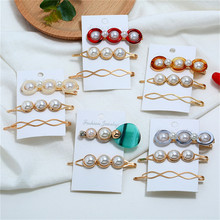 3pcs Korea Chic Imitiation Pearl Hairpin Irregular Metal Gold Color Bowknot Acrylic Hair Clips for Women Girls Hair Accessories chic solid color crown arrow hairpin for women