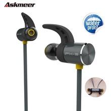 Askmeer Impermeable Auricular Bluetooth Inalámbrico Magnético de Metal Bass Auriculares Deporte Auricular bluetooth Manos Libres con Micrófono para el Teléfono