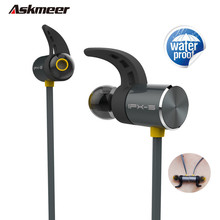 Cheapest Askmeer Waterproof Wireless Bluetooth Earphone Metal Magnetic Sport Headset bluetooth Handsfree Bass Earbuds with Mic for Phone
