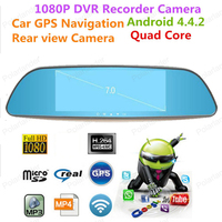 7 Rearview Mirror CameraNovatek Car DVR With Two Camera Auto Video Registrator Full HD 1080P mirror logger