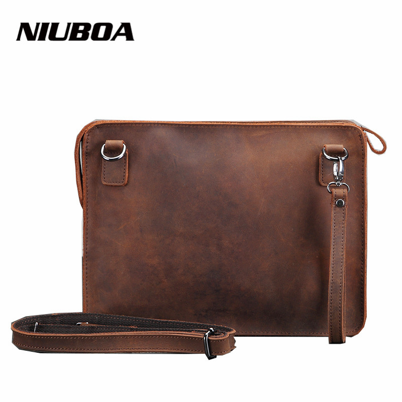 ФОТО NIUBOA Man Shoulder Bags High Quality Genuine Leather Man Pad Bag With Handle Strap Small Men Crossbody Bag Vintage Shoulder Bag