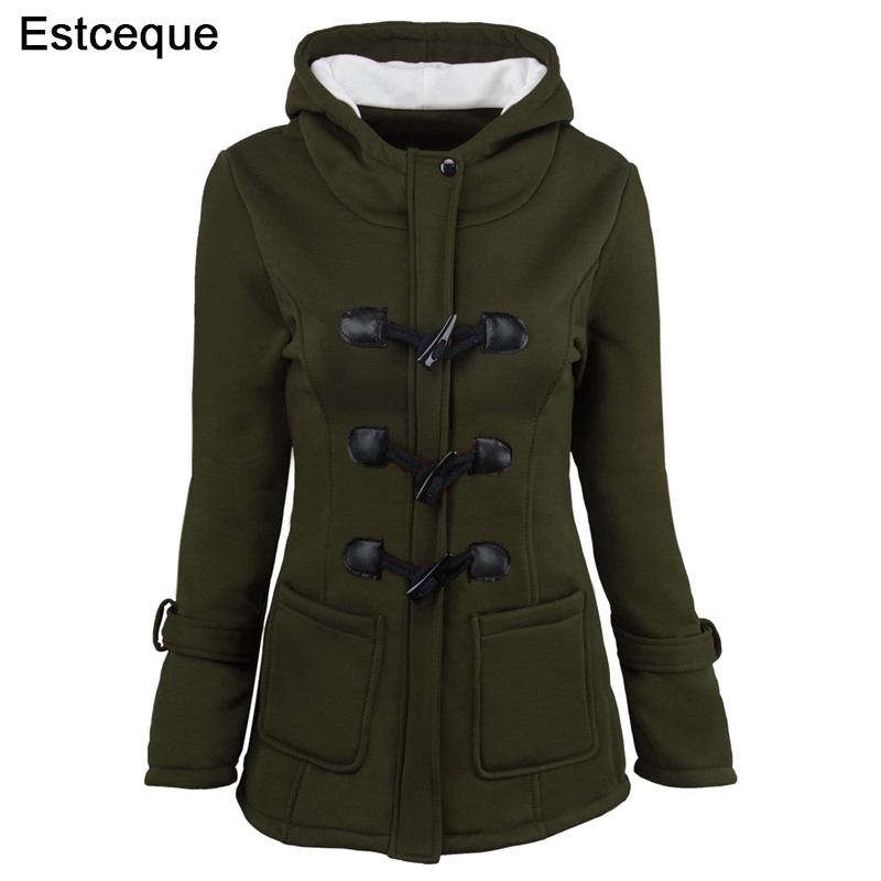 Women   Basic     Jackets   New Women's 6 Colors Single Breasted Causal Outwear Female Hooded Coat Casaco Feminino Ladies   Jacket   6XL