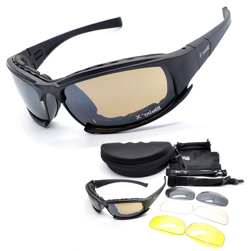 Prix pour DeckYard X7 Militaire Lunettes pare-balles Armée Polarisées lunettes de Soleil 4 Objectif Chasse Tir Airsoft Lunettes Moto Lunettes