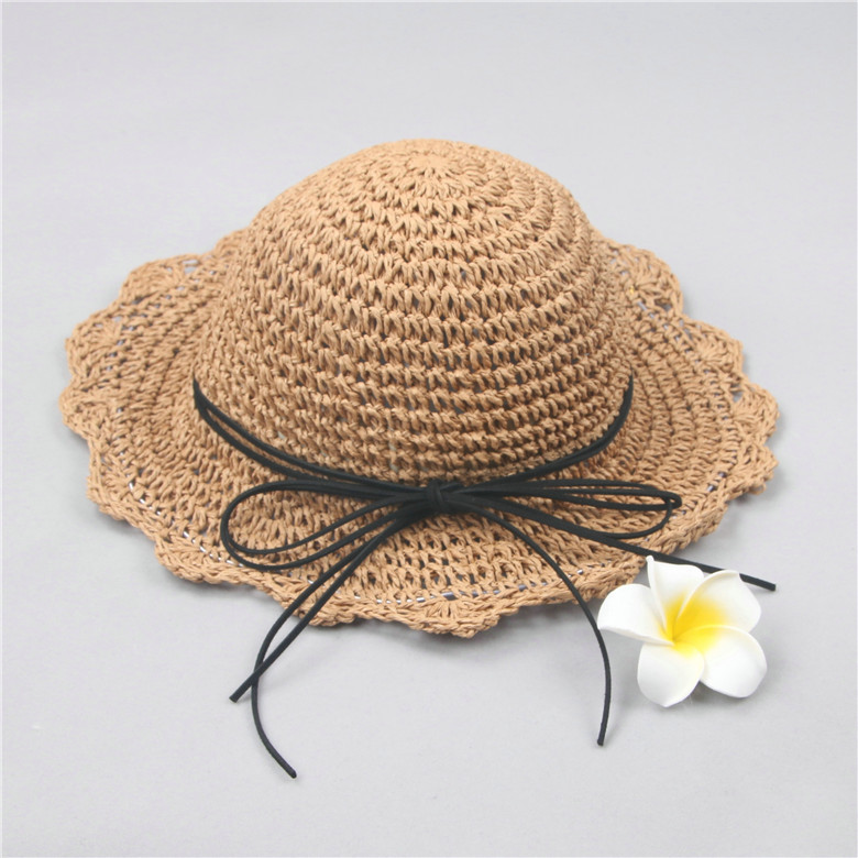 69cf1893e10 baby hats Parent child mother and daughter hand knit pineapple flowers  straw hats big bow folded seaside bow wild fisherman hat-in Hats   Caps  from Mother ...
