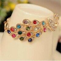 Women Girls Gold Color Colorful Peacock Rhinestones Bracelet bracciali donna pulseras mujer Hot Gift