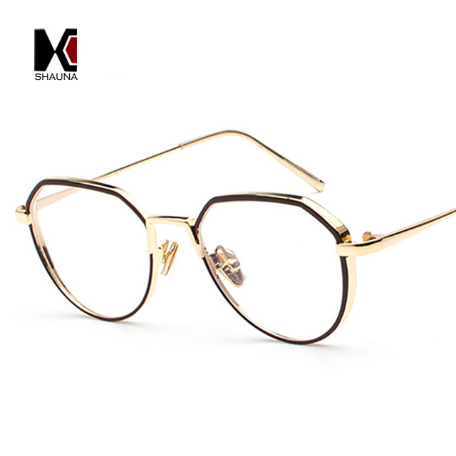 dce6b0ee1f9 SHAUNA New Arrival Thick Metal Frame Women Glasses Frame Fashion Men Blue  Rays Protection Clear Lens