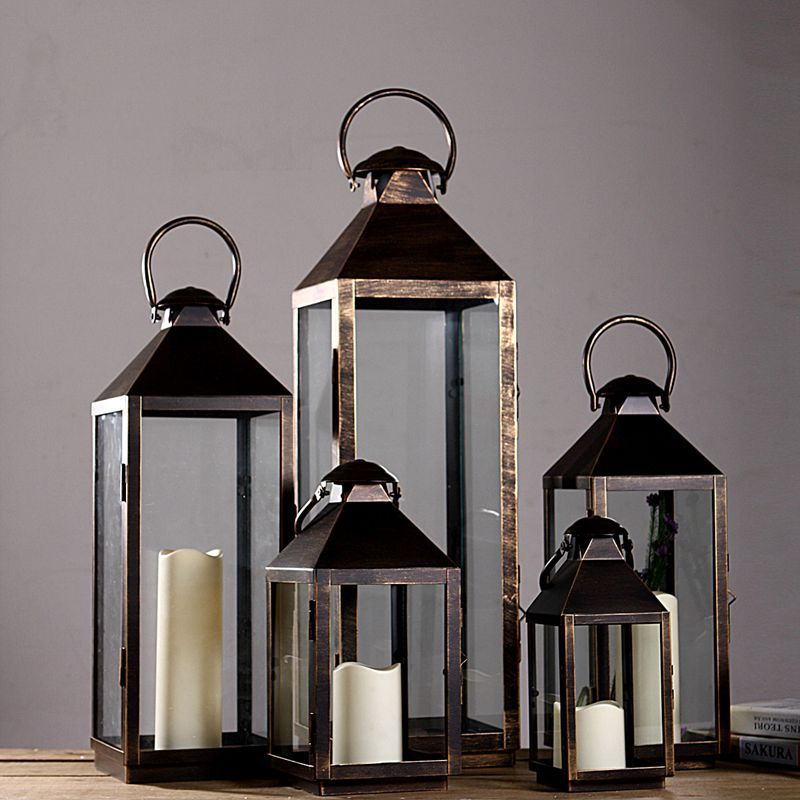 Wrought Iron Gl Vintage Large Floor Windproof Lanterns Yard Home Wedding Lantern Candle Holder In Holders From Garden On