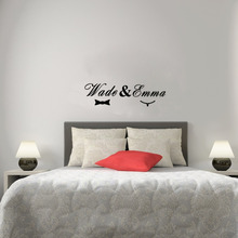 Custom made the name of the Husband and Wife Vinyl Wall Stickers Creative Wall Art for Bedroom Decor