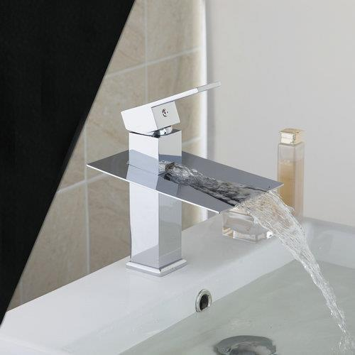 Soild Brass Torneira New Brand Waterfall Bathroom Chrome Deck Mount JN6101 Single Handle Wash Basin Sink Vessel Tap Mixer Faucet 8471 4 single handle cold stream deck mount single handles wash basin sink vessel kitchen torneira cozinha tap mixer faucet