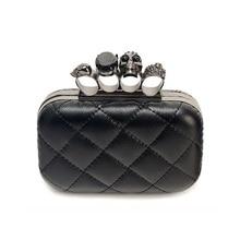 Damen Vintage schwarz schädel kette clutch abendtasche frau party kupplungen geldbörsen Knuckle box kupplung 2016 neue