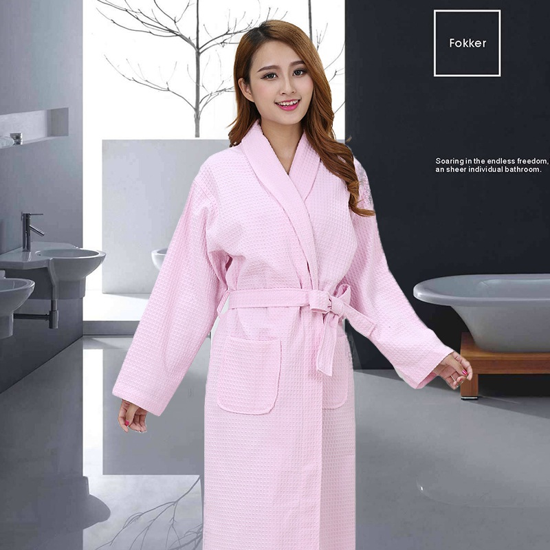 Cotton Waffle Bathrobe Women Summer Bathrobe Long Dressing Gown Sleep Robes Women Spa Robe Bridesmaid Robes Pink White