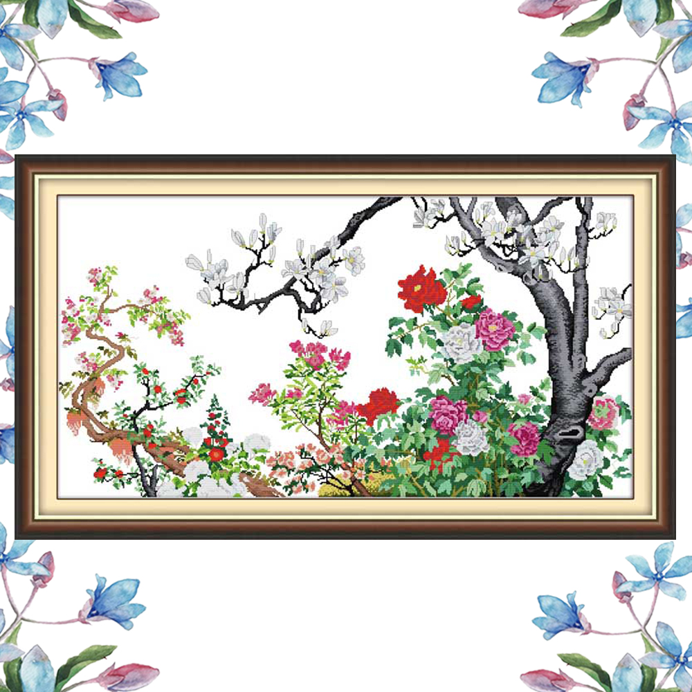 Nkf Flower Blooming Chinese Cross Stitch Pattern Flowers Design