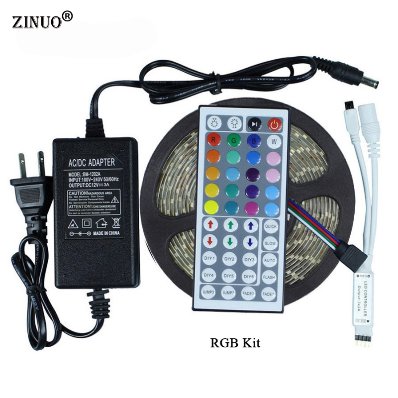 ZINUO 5M Waterproof Led Strip 5050 300Leds Flexible LED Tape IP65 + 44 Key IR Remote RGB Controller + 12V 3A 36W Power Adapter